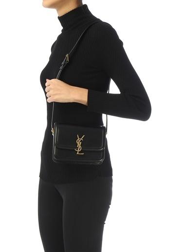 Saint Laurent Saint Laurent  Logo Detaylı Kadın Deri Omuz Çantası 101621890 Siyah
